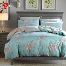 Luxury Satin Bed Linen Egyptian Cotton Bedding Set King Queen Size High Quality Pink Floral Bed Set Blue Duvet Cover Set Z8(China)