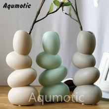 Aqumotic Creative Ceramic Egg Vase Contracted Modern Home Sitting Room Craft Ornaments Furnishing Articles desktop Leaf