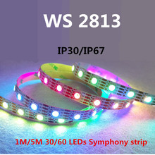 LED WS2813 1m/4m/5m New product WS2813 Smart led pixel strip, IP30/IP67 DC5V Black/white PCB, 30/60 leds/m IC(China)