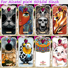 Soft TPU Rubber Skull Minions Phone Cases For Alcatel OneTouch Pixi 4 OT-5010 3G Version Phone Cover Silicone Accessories Hood