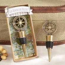 "(20 Pieces/Lot) Wedding souvenirs of ""Our Adventure Begins""compass wine stopper favors For unique wedding gift and Party Favors(China)"