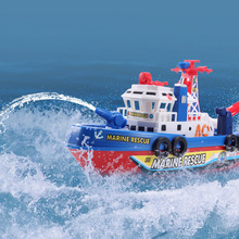 High Speed Music Light Electric Marine Rescue Fire Fighting Boat Non-Remote Toy(China)