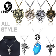 comple Game Final Fantasy Necklace Cloud Wolf  Blue Crystal Drop Pendants X Tidus  Lion Head Pendant name chain brand necklace