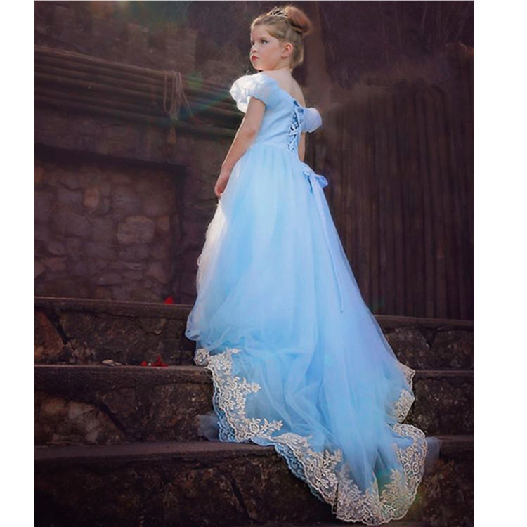 Childrens Cinderella Embroidery Floor Longuette Foreign Trade Full Dress Cindy Halloween Princess Dress Mesh<br>