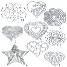 9Styles Flower Heart Five-pointed star Metal Cutting Dies Stencils DIY Scrapbooking Album Paper Card Craft dies embossing folder