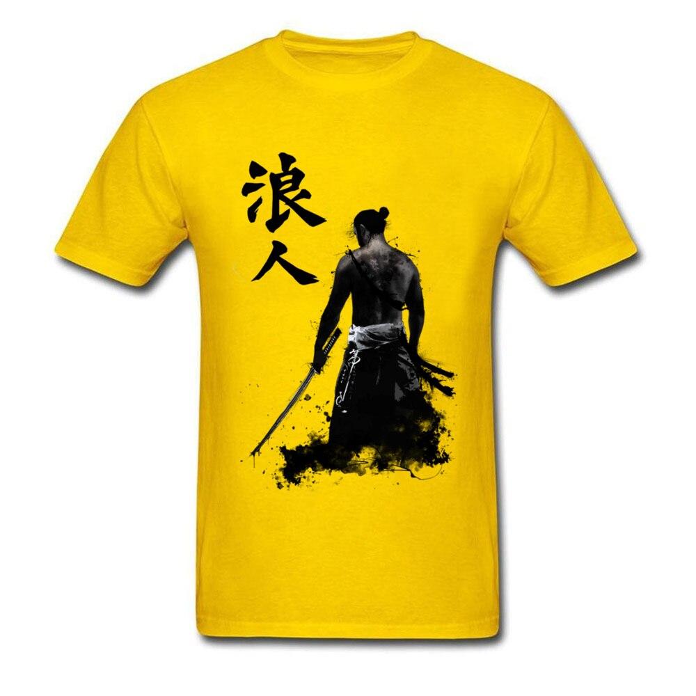 Ronin 3D Printed T-shirts for Men 100% Cotton Summer Tops T Shirt Custom Tee-Shirts Short Sleeve Prevalent Crew Neck Ronin yellow