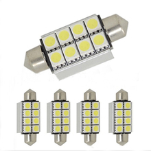 QvvCev QvvCev 10Pcs Festoon CAN BUS 41mm Led C5W CANBUS ERROR FREE 8 SMD 5050 LED Car Interior Light Bulbs Auto Reading Lights(China)