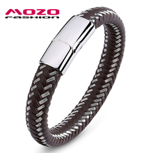 MOZO FASHION Men Bracelet Steel Wire & Leather Braided Rope Bracelet Stainless Steel Magnetic Clasp Bracelet Male Jewelry PS2008(China)