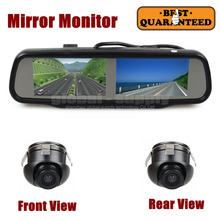 DIYKIT Double 4.3 inch Screen Rearview Mirror Car Monitor with 2 x CCD Car Rear View Camera for Rear/ Front / Side View Camera