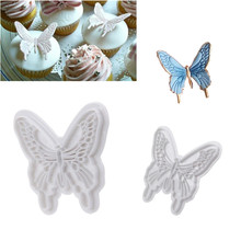 2pcs Butterfly Shape Cake Mold 2 Sizes Food-Grade Plastic Fondant Cake Decorating Tool Cookie Plunger Cutters DIY Baking Molds