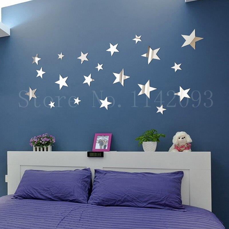 Ufengke® 20-Pcs 3D Star Diy Mirror Effect Wall Decals,Children/'s Room Nursery Fa