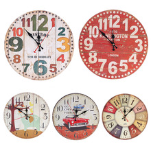 Vintage Europe Style Circle Wall Clock Bedroom Living Room Cartoon Antique Wooden Wall Clock 30cm Dia
