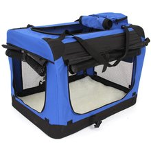 SDFC Foldabledog cat kennel dog cage Dogs Cats Box Katzenbox Dog Kennel with side entrances and blackout blinds Blue Big