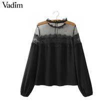 Women sexy transparent lace patchwork black shirts long sleeve mesh see through blouses ladies casual brand tops blusas LT1415