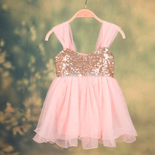 2016 New Children Baby Fairy Sequined Ruffles Mesh Dresses, Princess Girls Sweet Clothes Pink 5 pcs/lot, Wholesale