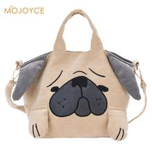 Japanese Cute Cartoon Animals Tote Bag Funny Dog Corduroy Shoulder Bag Crossbody Bag For Women Travel Daypack Shopping Child Bag(China)