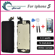 A+++ QUALITY For Apple iphone 5 5G  LCD display digitizer Touch Screen + Home button + Front camera+ Tools Assembly