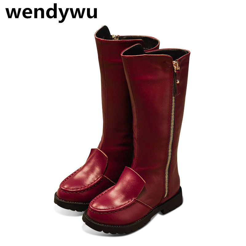 WENDYWU autumn winter fashion knee high boots for baby girls genuine leather boots children black shoes toddler black boots<br>