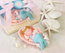 Lovely sleeping Mermaid shaped candle baby shower baptism party favor children birthday gift present baby girl