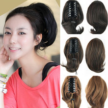 Short Curly Hair Claw Natural Ponytails Heat Resistant Synthetic Ponytails Hair Pony Fake Hair Tail Horsetail Hair Pieces