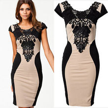 2016 fashion Fashion Women Floral Lace Short Sleeve Dresses Party Casual knee-length  Dress