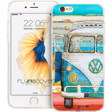 Coque Funda Beach VW Bus Clear Soft TPU Silicone Phone Cover for iPhone X 7 8 Plus Case for iPhone 5S 5 SE 6 6S Plus 4S 4 Cases.(China)