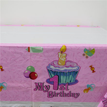 cartoon my 1st birthday party decoration 1pcs/lot pink blue color 108*180cm plastic tablecloth for kids boy girl baby tablecover