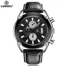LIANDU Luxury Men's Watches Brown Black Leather Chronograph Multi-Function 3ATM Waterproof Quartz Sport Mens Wristwatches(China)