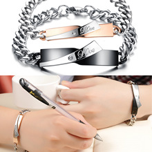 JEWELRY  New Personality 316L Stainless steel Couple LOVE Bracelet with Crystal Sweet Lover engagement Gift one pcs 702