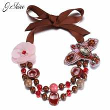 Stylish Romantic Charming Flower Handmade Bird Choker Necklaces for Women Double Layered Red Crystal Resin Ceramics Bead Jewelry