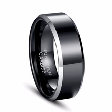 Hot Sales 8MM Width Shiny Black Pipe Custom Ring Blank Ring New Men's Fashion Tungsten Wedding Ring(China)