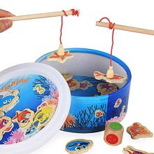 Bucket Marine Fishing Toy Set Fish Game Boy Girl Kids Early Baby Educational Toys Wooden 3D Puzzle Toys for Children(China)
