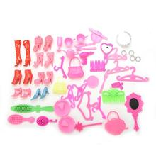 1 set/50 Pcs Shoes Bag Mirror Hanger Comb Bracelet For Barbie Dolls Accessories Set for Barbie Toys Child Gifts(China)