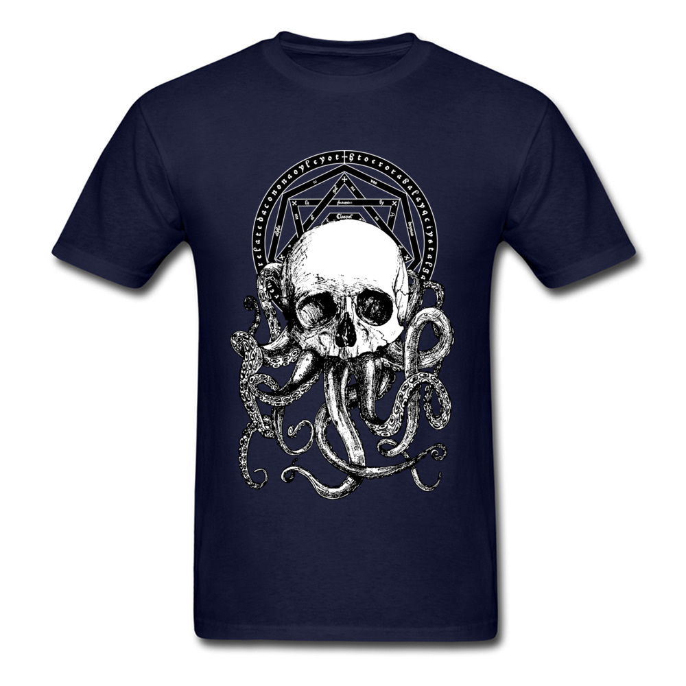 Pieces of Cthulhu Family Adult T Shirt O Neck Short Sleeve Pure Cotton Tops Shirts Geek T Shirt Wholesale Pieces of Cthulhu navy