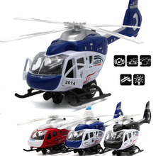 New 1:32 Propeller will Spin's Police Command Helicopter Diecast Metal Model Pull Back Acousto-optic Alloy Airplane Kids Gifts(China)