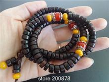 BRO524 Tibetan 108 Big Leaf Red Sandalwood Prayer Mala Necklace 8x5mm Tibet Man Wooden Beaded Bracelets