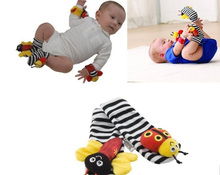 2016 new (4pcs=2 pcs waist+2 pcs socks)/lot,baby rattle toys lamaz Garden Bug Wrist Rattle and Foot Socks(China)