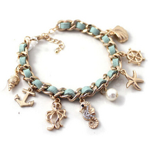 Fashion New Ocean Series Hippocampal Conch Shells Starfish Gold Pendant Leather Bracelet For Women High Quality Jewelry