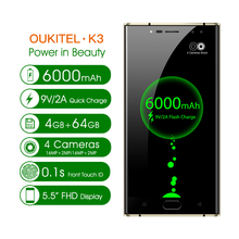 "Original Oukitel K3 Mobile Phone 5.5"" MT6750T Octa Core Android 7.0 4GB+64GB 6000mAh 4 Camera 4G LTE OTA OTG Mobile Phone"