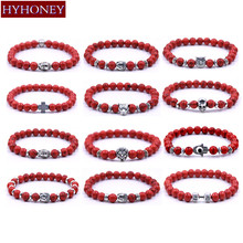 Buy HYHONEY 8MM Red beads Natural stone Bracelets women Chakra Bangles bijoux Men Jewelry for $1.00 in AliExpress store