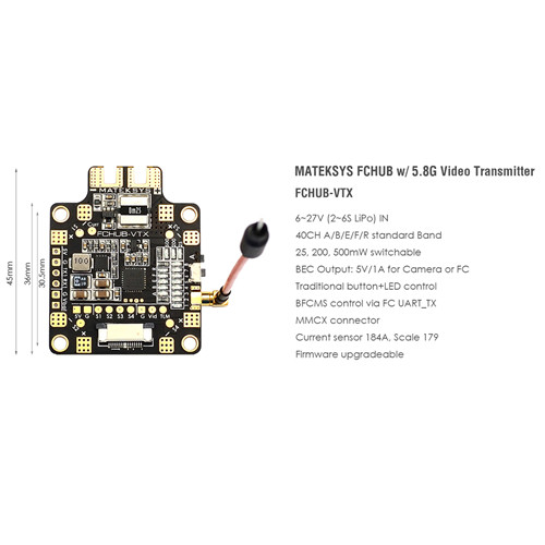 Matek Systems FCHUB-VTX 6~27V PDB 5V/1A BEC w/ 5.8G 40CH 25/200/500mW Switchable Video Transmitter <br>