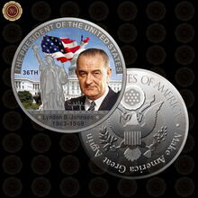 WR Luxury Home Decor 24k Silver Metal Coin Quality The US 36th President Memory Art Ornament for Birthday Gifts 40mm