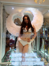 White Costume Adult's large white angel feather wings Cosplay photography Game Display fashion show props EMS free shipping