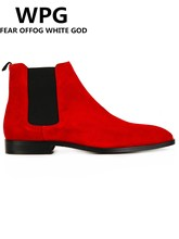 WPG 2017 NEW style Top quality designer red men shoes luxury brand Chelsea mens boots shoes