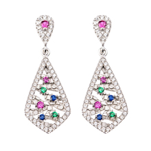 TZ0007-E Hot Brincos 925 Sterling Silver Jewelry Drop Earrings Tie Design Multicolor Cubic Zirconia Earrings For Women