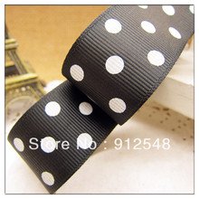 "Free shipping 1"" (25mm) Grosgrain ribbon Polka Dots printed black ribbon with white dots, DIY hairbow accessories,ZYD003"