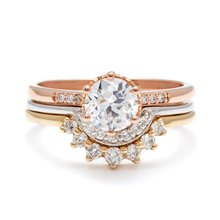 Queen Court Vintage EDI 1CT Moissanite Real 14k Gold Ring Lab Grown Diamond Wedding Sets Ring For Women Romantic Jewelry Gift