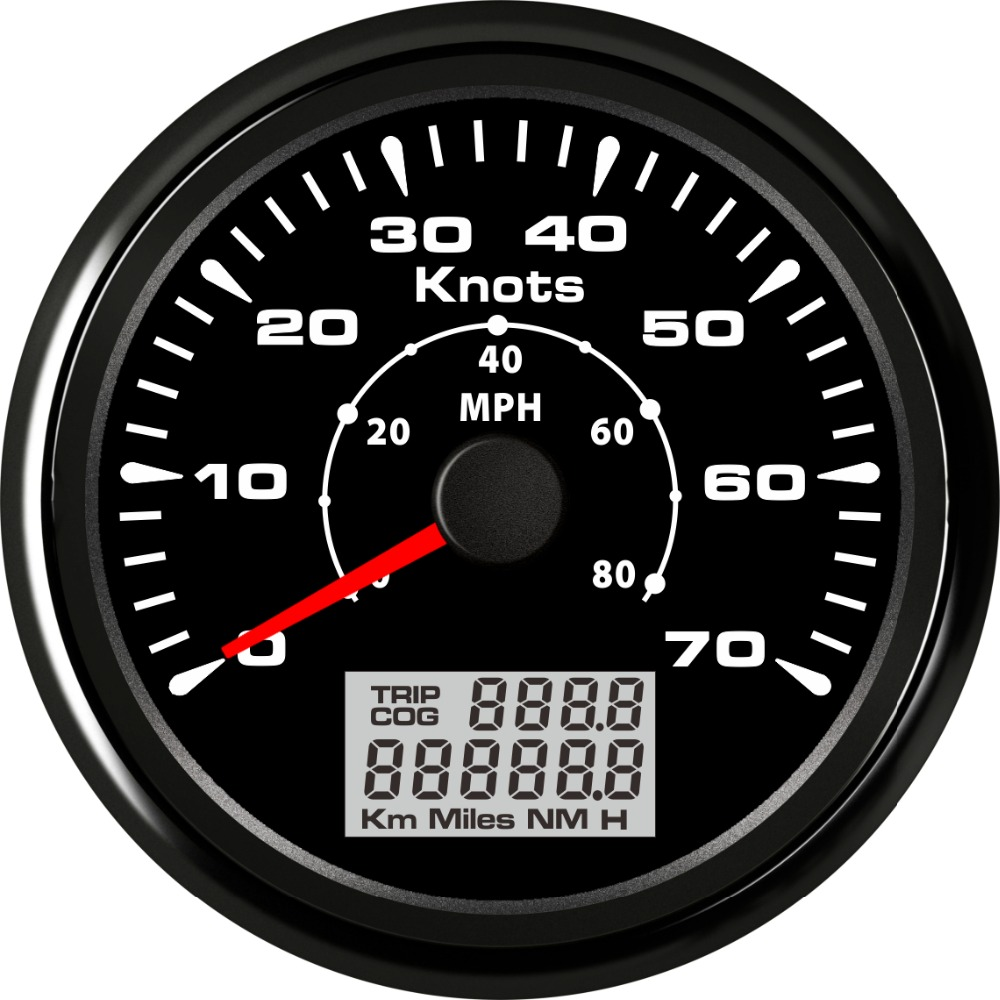 Pack of 1 85mm GPS Speedometers 0-70Knots Marine GPS Speed Trip Meters Cog 0-80MPH Speed Indicators with 8 Kinds Backlight Color 3