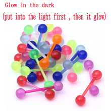 7pcs/lot Free Shipping Mix Color Glow In The Dark UV Silicone Tongue Nipple Bar Ring Barbell Body Piercing Jewelry Random Color