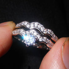Gorgeous 2 in 1 18K White Gold Platinum Plated Shining CZ Stone Women's Wedding Engagement 925 Sterling Silver Band Ring Set